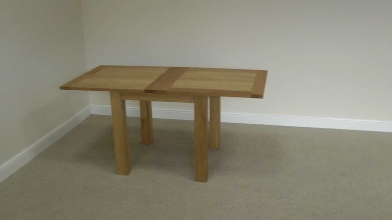 Flip Top Square Oak Dining Table 80cm x 80cm - 80cm x 160cm