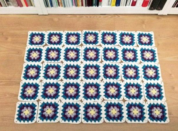 Вязание крючком коврики квадратами 96