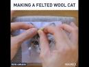 Процесс изготовления кота из шерсти