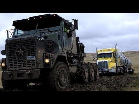 Amazing Hauler Truck Pulling Tanker Trailer Truck Oil On Mud Road