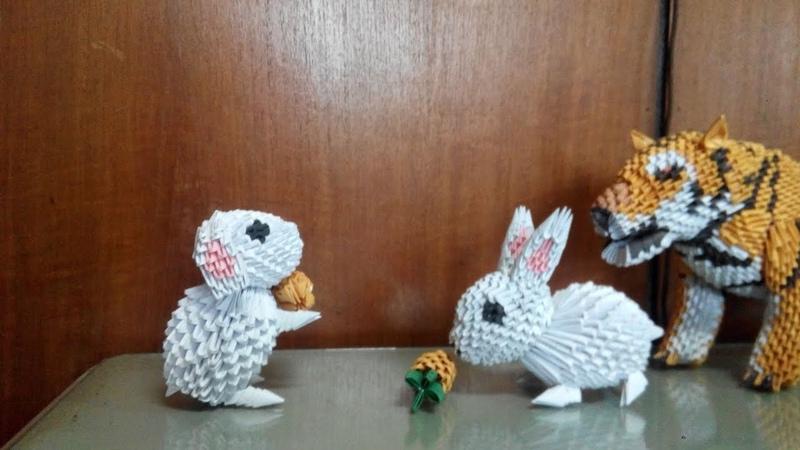 3d origami rabbit tutorial part 1