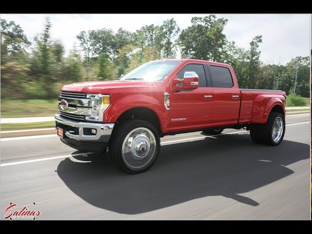 BEAUTIFUL RED 2017 DUALLY F 350 ON 26 INCH DUALLY WHEELS