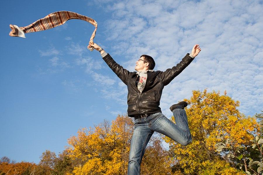 осень парк листья шарф