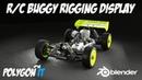 Blender 2.8 R/C Buggy rigging display with Eevee viewport renderer