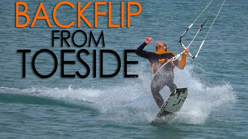Kiteboard Backflip from Toeside ( pops from toeside)
