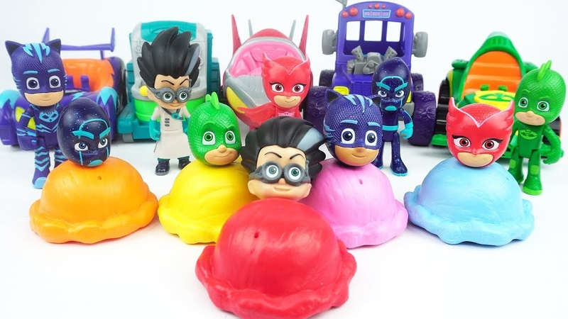Learn Colors and More with PJ Masks Wrong Heads Toys, Cars, and Ice Cream Toys!!