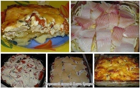 Картошка с рыбой и сыром в духовке