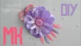 Праздничная брошь для начинающих канзаши. Цветы из лент. Мастер класс.