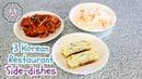 3 Korean Restaurant Side dishes (Spicy Fish Cake Side, Rolled Egg Side, Pickled Radish Side)