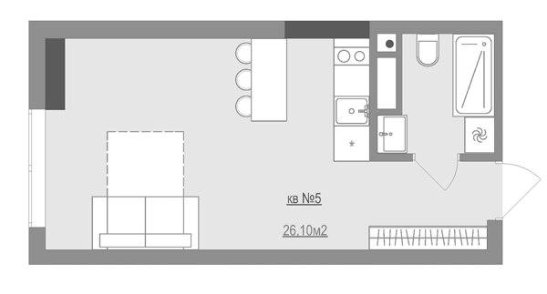 Концепт квартиры 26 м.