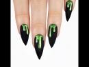 Lime green holo slime over matte black 🖤💚🖤💚🖤
