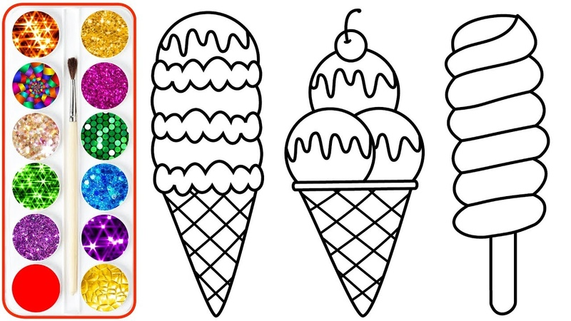 Ice Cream Drawing Coloring For Kids - Coloring Pages For Children, Babies Toddlers