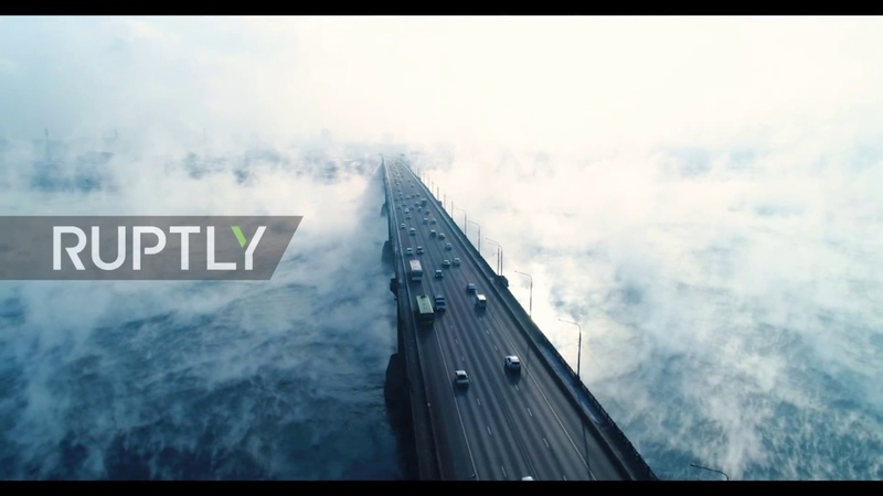 Autumn FREEZE! Watch ghostly fogs rise over Enisei River