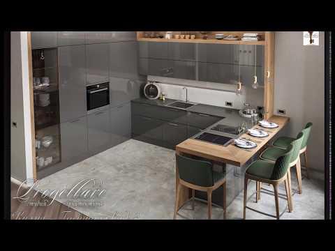 Проект дизайн кухни гостиной в новом ЖК Смольный проспект