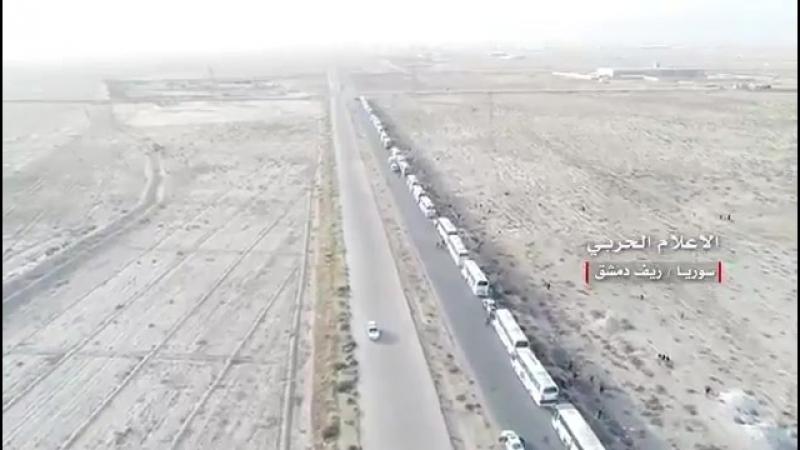 Боевики Джейш аль Ислам покидают г Dumayr Восточный Qalamoun