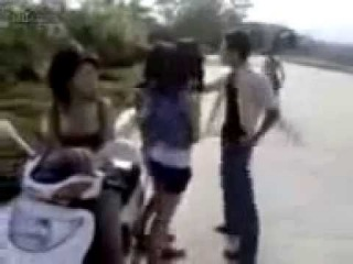 Girl friend and boy friend fight