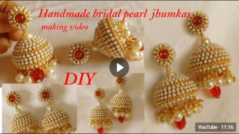 DIY __ how to make designer silk thread bridal jhumka earrings at home __ handma