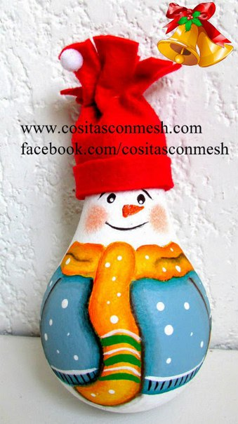 Снеговик из лампочки. Мастер-класс.