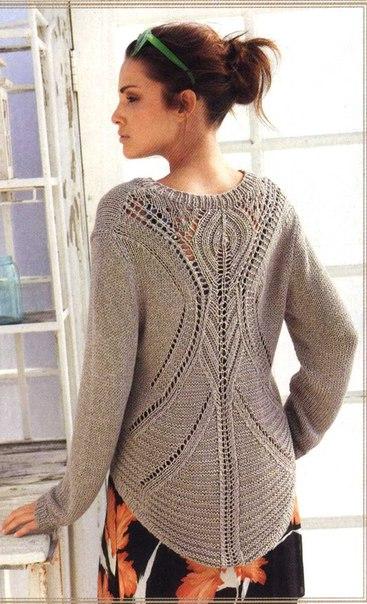 пуловер спицами с ажурным
