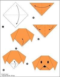 Оригами собака-схема.