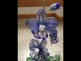 Синяя орхидея из бисера. Бисероплетение.