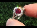 HGT Certified UNHEATED Natural VS Red Ruby Diamond 14k Yellow Gold Cocktail Ring - C763