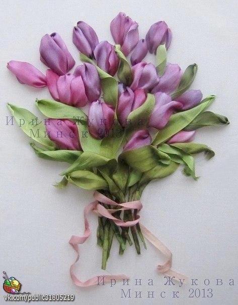 ✨ Тюльпаны. Вышивка лентами. Получается очень красиво и оригинально Фото мастер-класс от Ирины Жуковой ============================== ✂ #hand_made #сделай_сам #мастер_классы