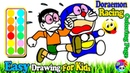 Doraemon Nobita Racing Coloring | Fun Painting For Toddlers And Drawing For Kids