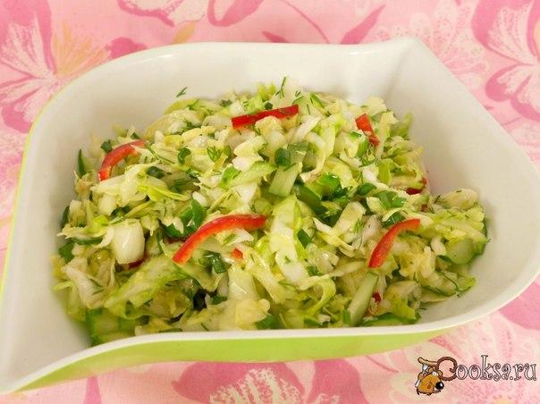 салат из огурцов и капусты и болгарского перца