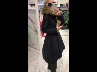 пальто черное с мехом
