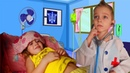 Nikita and Nikol Pretend Play with doctor / Funny kids video for children