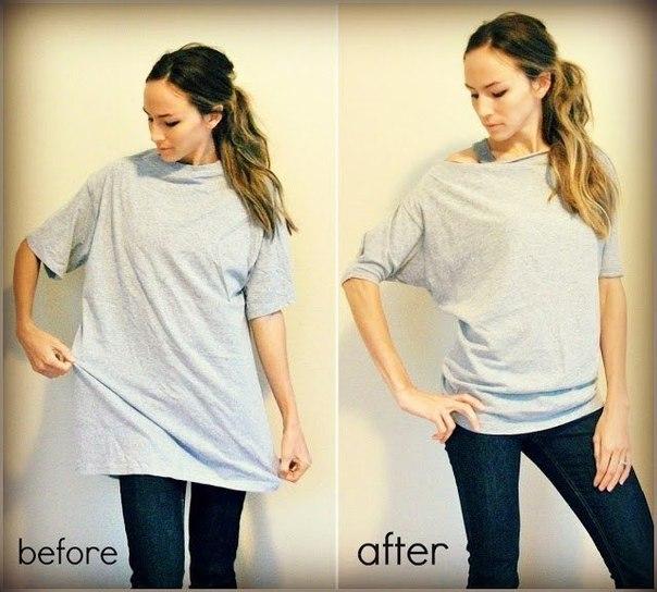 Как сделать женскую из мужской футболки сделать женскую