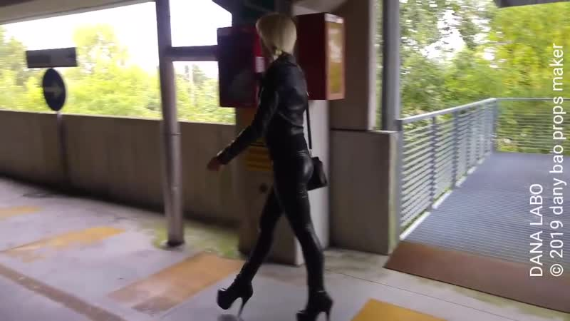 DANA LABO walk in black leggings and boots part 2
