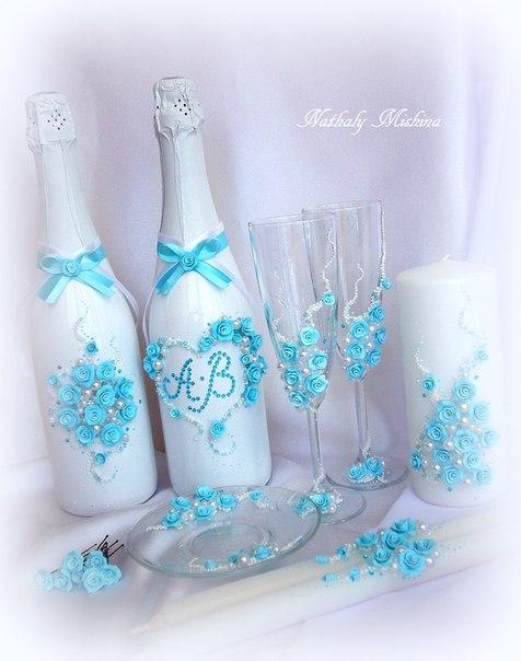 Бирюзовый свадебный комплект. (6 фото) - картинка