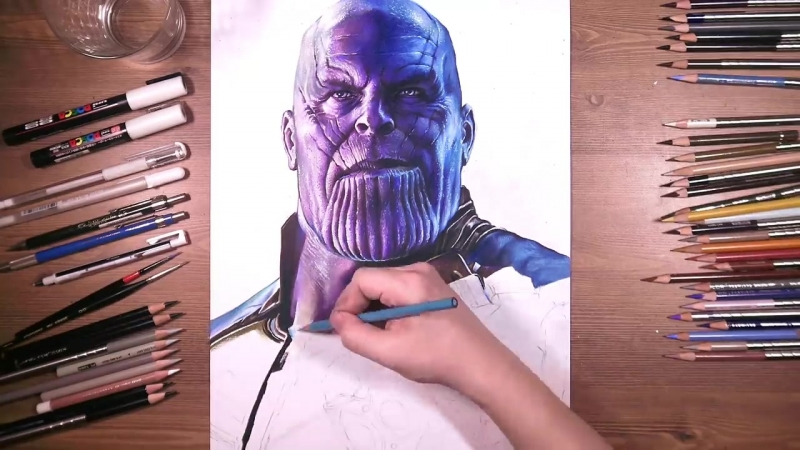 Thanos with Infinity Gauntlet by drawholic