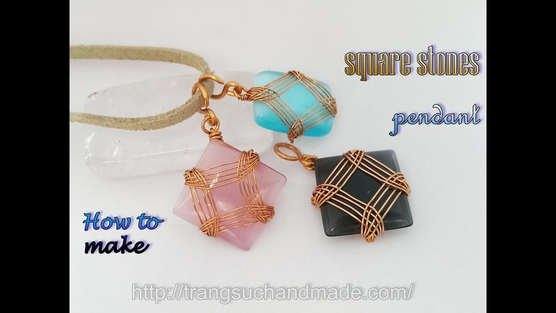 Wire wrapped pendant with square and rectangular stones without holes 383