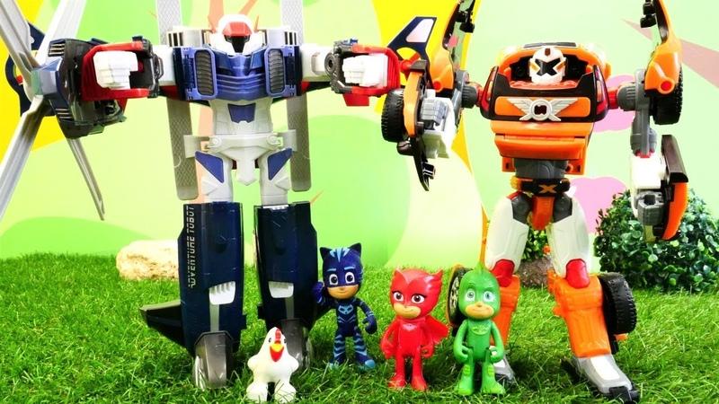 Héroes en pijamas y Tobots juguetes. PJ Masks español.