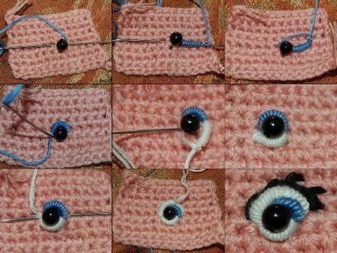 Как сделать рот и глаза вязаной кукле