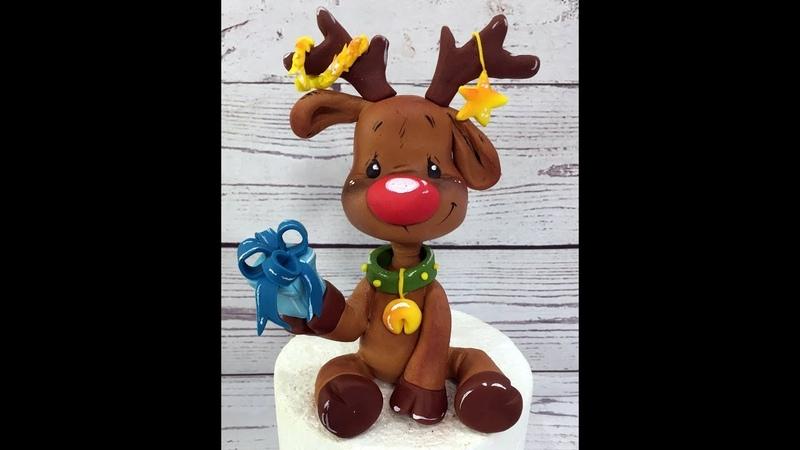 Олень ( Fondant Rudolph the Reindeer, christmas cake topper tutorial )