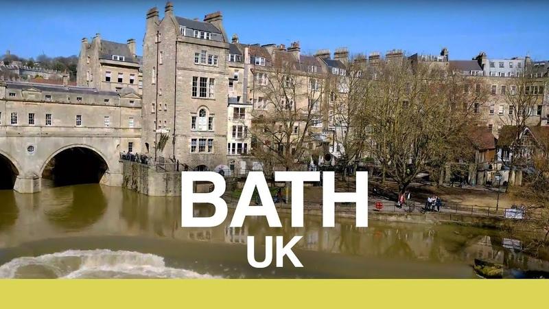 【4K】BATH ENGLAND WALK - River Avon, Roman Baths Royal Crescent