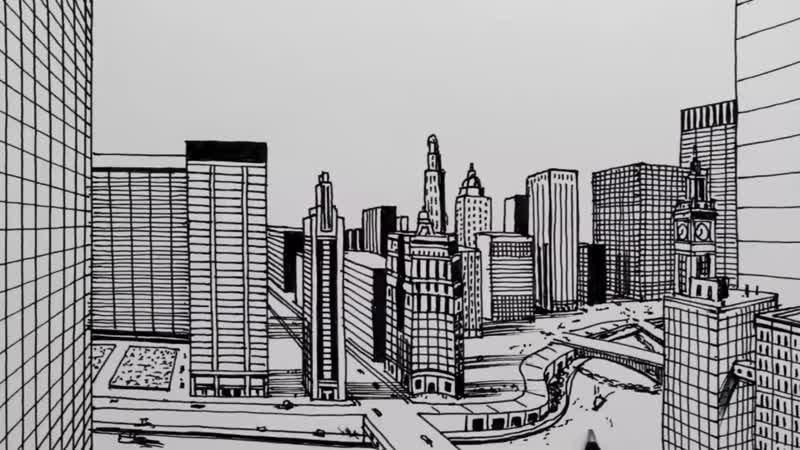 Как нарисовать город в перспективе с одной точки. Чикаго