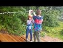 Экстрим Насти через озеро по канату