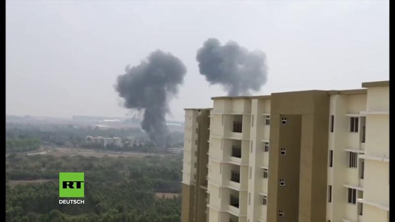 Kunstflug der indischen Luftwaffe Tödliche Kollision auf Video festgehalten
