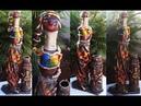 Garrafa de canto decorada com biscuit e jeans Africana passo a passo