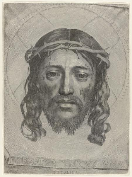 Уникальная гравюра La Sainte Face (Holy Face), 1649 год. Автор: Клод Меллан.Изображение на этой гравюре 17 века состоит из одной единственной спиралевидной линии. Все детали лица, а так же