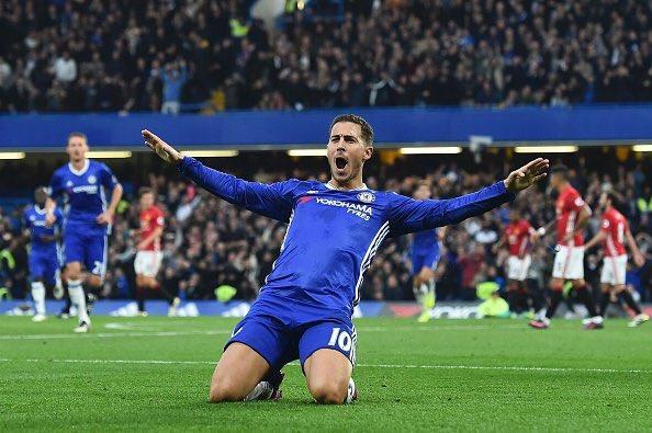 """Эден Азар празднует гол в ворота """"Манчестер Юнайтед"""""""