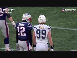 Joey Bosa and Tom Brady recognize each others