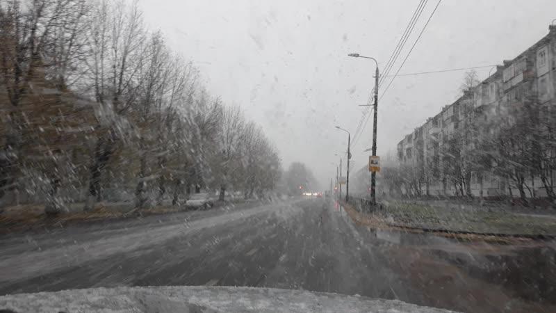 23.10.2018 Северодвинск | Мокрый снег | Водитель будь внимателен на дороге
