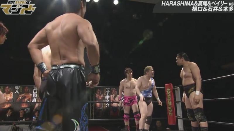 Kazusada Higuchi, Keisuke Ishii, Antonio Honda vs. HARASHIMA, Soma Takao, Mike Bailey (DDT - Live! Maji Manji 2)