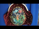 Бархатная сумка с фермуаром, расшитая бисером, кристаллами и жемчугом Swarovski
